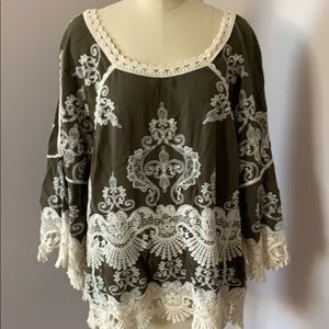 Democracy olive green top lace trim bell sleeve S